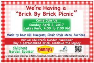 Lakes Park Enrichment Foundation Brick by Brick Picnic Fundraiser for Children's Garden 04-02-2017