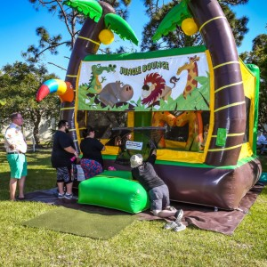 The bounce house was popular - thanks, Wheel Fun! | Brick by Brick Picnic at Lakes Regional Park, 03-18-2018