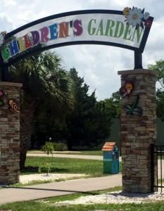 The newest addition to the Children's Garden at Lakes Park sits just inside the archway.