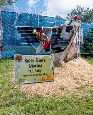 2018 North Fort Myers High School for Salty Sam's Marina. Display features a ship at sea called the SS Salty, manned by skeleton pirates.
