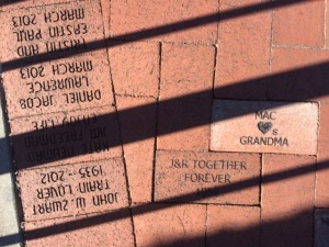 Bricks recently installed near the Train Museum at Lakes Regional Park - thank you, Decker family!