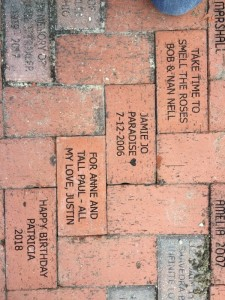 Bricks installed in the Rose Garden, 01/22/2019 - thank you Bob & Nancy Nell; Ellie Chapman; Justin Storer; and Paul Dover