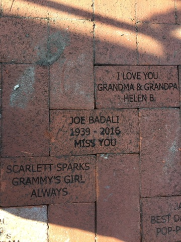 Bricks installed at the train museum, donated by Badali, Berkland, and Foley
