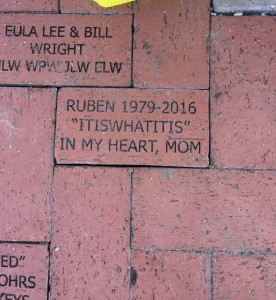 Bricks donated to the Rose Garden at Lakes Park by Elizabeth Wright, Debra Collins