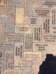 Brick donated to the Childrens Garden at Lakes Park by Diana Schumm says Laura Roby Cherished