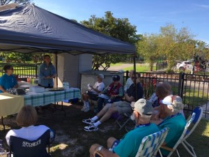 March 2019 gathering in the Community Garden at Lakes Park