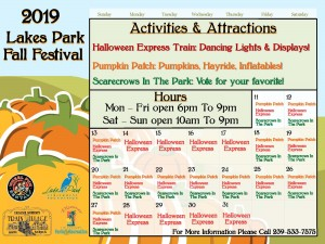 Schedule for the Lakes Park Fall Festival 2019