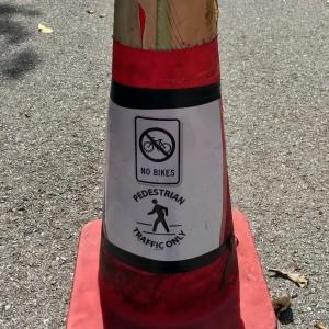 Pedestrians only traffic cone