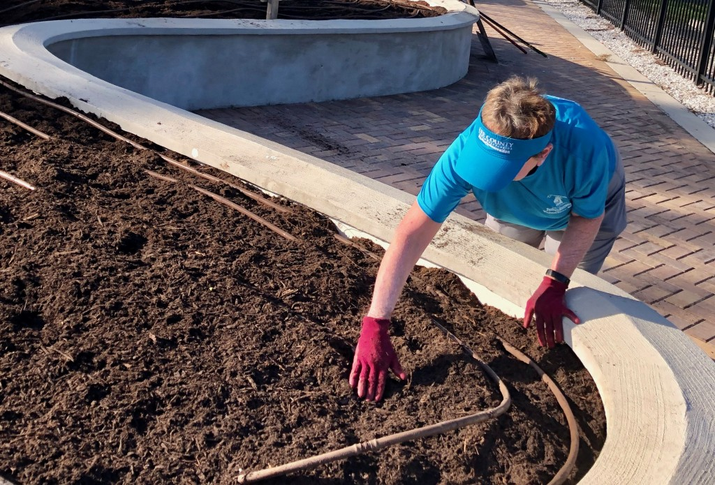 """Soil is spread in the ABC garden bed by a Lakes Park """"A Team"""" volunteer"""