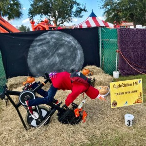 """Scarecrows in the Park Best Business/Organization Created Display: CycleStation Fort Myers, """"Debbie Phone Home"""""""