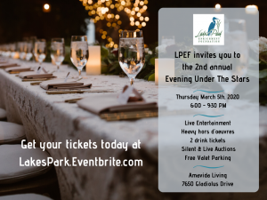 Graphic for 2nd annual Evening Under the Stars, a fundraiser benefitting Lakes Park table set with twinkly lights on a tree