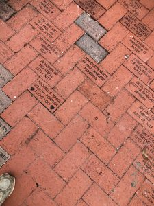 Bricks installed in the Rose Garden, December 2019 and January 2020
