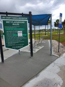 """The """"wet playgrounds"""" at Lakes Park are also called """"splash pads""""; they're closed at the moment to facilitate social distancing and reduce the risk of spreading COVID-19."""