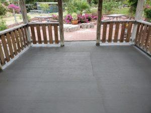 The new concrete floor of the Rose Garden gazebo is nicely level.