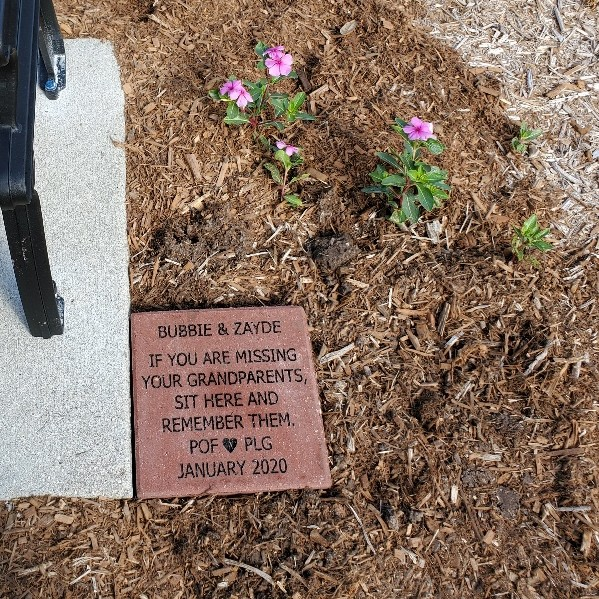 Bench dedication stone - donated to the Fragrance Garden at Lakes Park by the Endrinal family