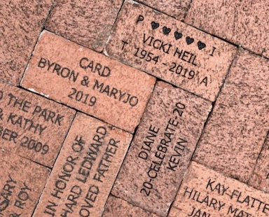 Donated bricks and benches - Bricks donated by Nick Heil and Kevin Doran placed near the Train Museum at Lakes Par,