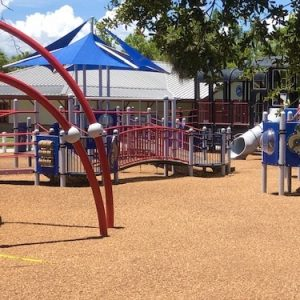 Mulch has been added to the playground near the Train Museum at Lakes Park